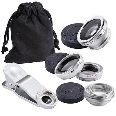 4in1 Fish Eye Wide Angle Macro Telephoto Lens Camera Kit for iPhone Samsung LG