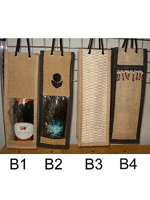 3 x Wine Gift Bag Jute Christmas Present Bags Champagne Bottle Natural Hessian