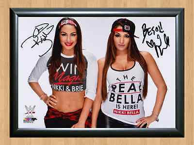 Bella Twins Nikki Brie WWE Signed Autographed A4 Print Photo Poster belt diva 2
