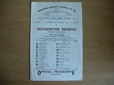 1960/1 Charlton Athletic Reserves v Southampton Reserves - Good Condition
