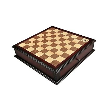 """Walnut and Maple Classical Tiroir Chess Board with Storage Drawers - 1.75"""""""