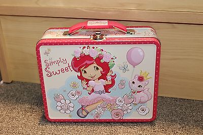 Strawberry Shortcake Tin Lunch Box/Purse- New- Girls- pink- school- simply sweet