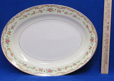 Edwin Knowles Oval Serving Platter Brunswick Pattern Floral Gold USA Vintage