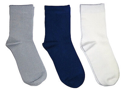 Kids Plain Color Bamboo Seamless School Socks 3 PACK Collection by Rambutan