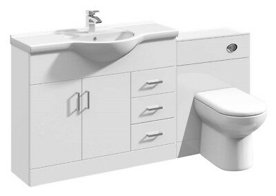 1550mm High Gloss White  Vanity Cabinet Unit & Back to Wall BTW Toilet Furniture