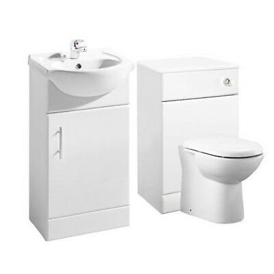 High Gloss White Bathroom Vanity Basin Sink Cabinet & BTW Toilet Furniture Unit