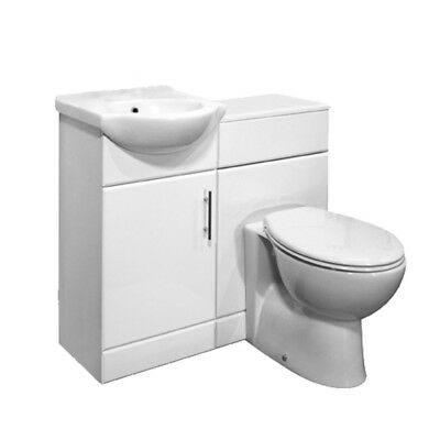 White High Gloss 950mm Bathroom Vanity Unit & BTW Toilet Bathroom Furniture