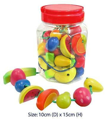 NEW Fun Factory Childrens Wooden Lacing Threading Toy Fruit in Jar - 34 Pce
