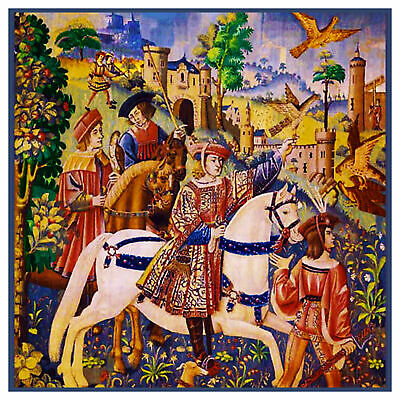 Medieval Departure Hunt For Unicorn detail Counted Cross Stitch Chart Pattern