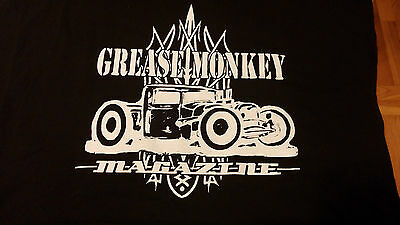 GREASE MONKEY  MAGAZINE - Hot Rod t-shirt Black  MD. Art work by Jason North