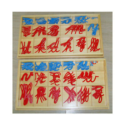 Montessori HOMESCHOOL MOVABLE Red & Blue LARGE Alphabet 2 Wooden Boxes - CURSIVE
