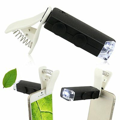 60X-100X Optical Zoom LED Digital Camera Microscope Lens Clip for Cell Phone