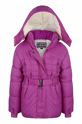 New Girls Coat School Padded Hooded Jacket Age 2-3 Years Waterproof Pink