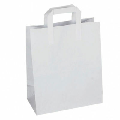 Paper Carrier Bags White SOS Kraft Takeaway Party Lunch Food Flat Handles S M L