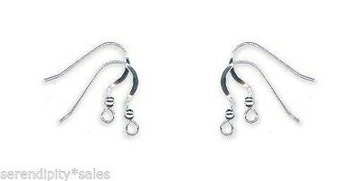 12 Solid Sterling SILVER 925 FRENCH HOOKS with Ball Bead + Coil EarWires Earring
