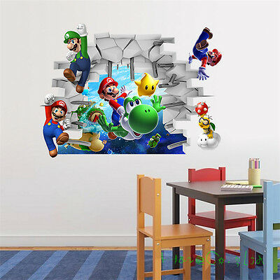 Super Mario Bros 3D View Art Wall Stickers Decal Mural Home Decor Removable FR*