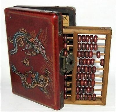 ABACUS LEATHER WOODEN DRAGON PHOENIX abacus BOX