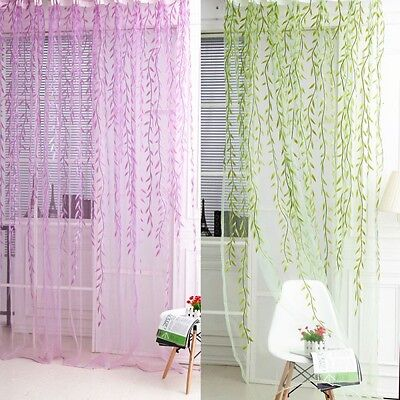 Beatiful Curtain Room Wi|low Pattern Voile Window Sheer Panel Drapes Scarfs New