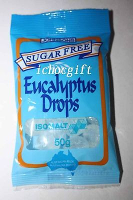 2 x Johnsons SUGAR FREE Eucalyptus Drops 50g each bag