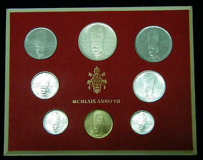 1969 Italy Vatican complete set  coins UNC with silver in official RED BOX