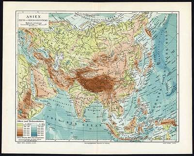 Map Of Asia Mountains.Antique Map Asia River Mountain China Meyers 1895