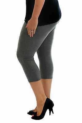 Womens Cropped Elastic Stretch Leggings Trousers 3/4 Pants Nouvelle Plus Size