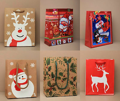 Pack of Small Assorted Mixed Christmas Gift Bags Xmas Present Party Bags