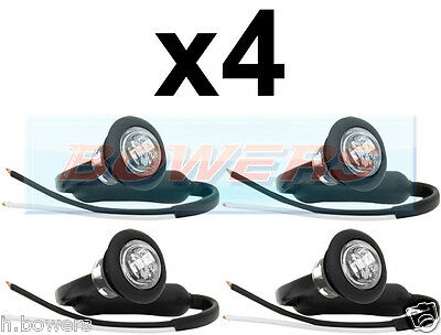 4x 12V/24V FRONT WHITE/CLEAR SMALL ROUND LED BUTTON MARKER LAMP/LIGHTS UNIVERSAL