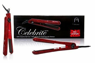 NEW Le Angelique Flat Iron, Red Leopard, 32 Ounce BRAND NEW