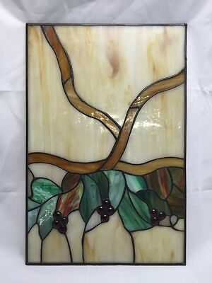 "STAINED GLASS 10.25""x 15.25"" SUNCATCHER WINE GRAPES WINDOW PANEL GRAPEVINE"