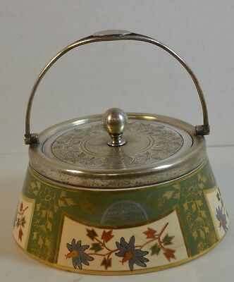 Aesthetic Movement  George Wish Silver Plate and Porcelain Basket