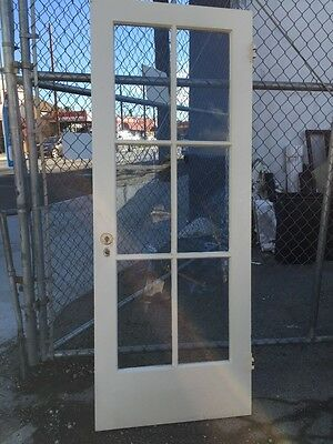 "Old Antique Vintage Wood Glass Six Pane 1920's Entry Door 30""x77"