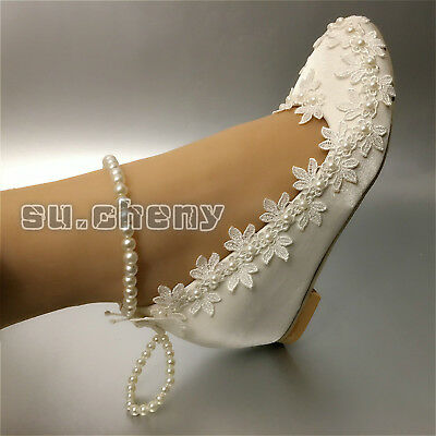 """2"""" / 3"""" silk white lace satin crystal Wedding shoes Bride heels pumps size 5-11"""