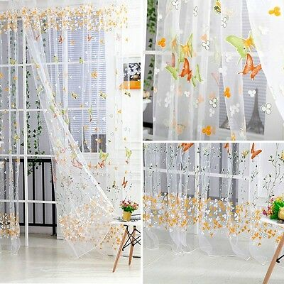 New Butterfly Tulle Voile Door Window Curtain Room Balcony Panel Sheer Scarf Hot