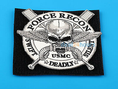 """FORCE RECON .USMC MILITARY MARINE """"SWIFT """"DEADLY"""" SILENT """"Skull MAGIC TAPE Patch"""