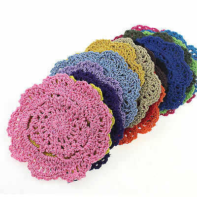 Up 5 Pcs Vintage Floral Hand Crochet Handmade Doily Table Hollow Cup Mat Pad