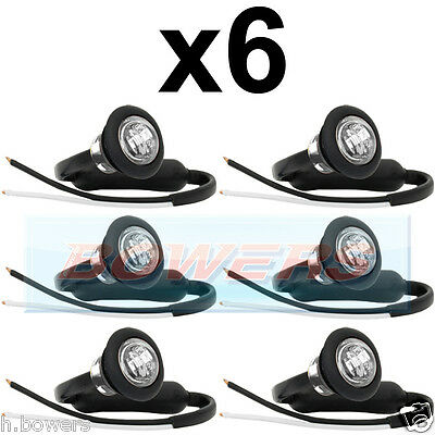 6x 12V/24V FRONT WHITE/CLEAR SMALL ROUND LED BUTTON MARKER LAMP/LIGHTS UNIVERSAL
