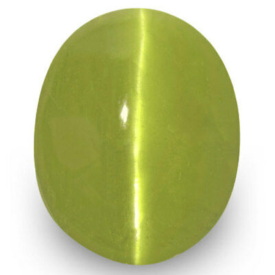 3.85-Carat Deep Greenish Yellow Chrysoberyl Cat's Eye (Strong Chatoyance)