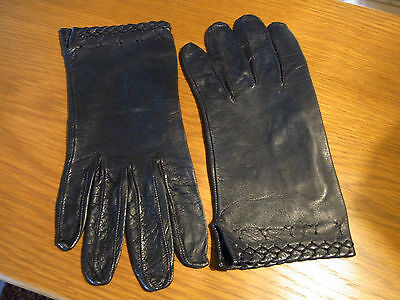 Vintage Gants Femme Cuir Noir T5,5-6 Xs / Vintage Black Leather Gloves Xs