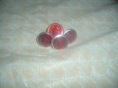 4 Red Jeweled Vintage License Domed  Reflectors Ford Chevy Dodge Harley Indian