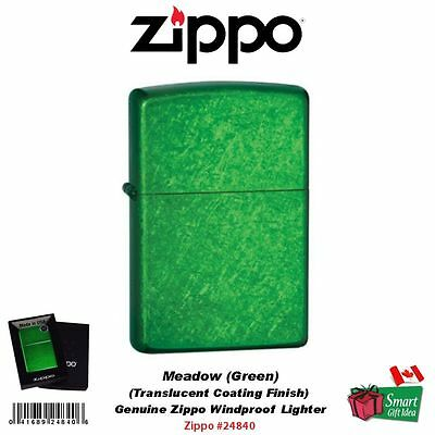 Zippo Meadow Lighter, Green Translucent Powder Coating USA Windproof #24840