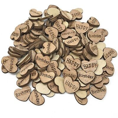 Happy Birthday Wooden Shabby Chic Craft Scrapbook Vintage Confetti Hearts 15mm