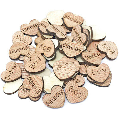 Birthday Boy Wooden Shabby Chic Craft Scrapbook Vintage Confetti Hearts 15mm