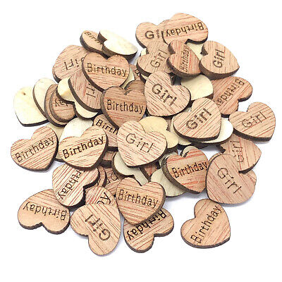 Birthday Girl Wooden Shabby Chic Craft Scrapbook Vintage Confetti Hearts 15mm