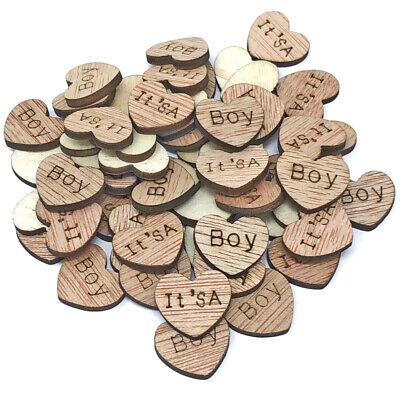 It's a Boy Wooden Shabby Chic Craft Scrapbook Vintage Confetti Hearts 15mm