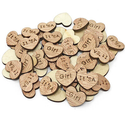 It's a Girl Wooden Shabby Chic Craft Scrapbook Vintage Confetti Hearts 15mm