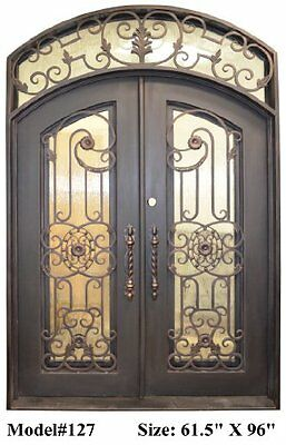 Iron Work Entry Front Castle Door Smooth Finish Line Black Paint Handy Faux New