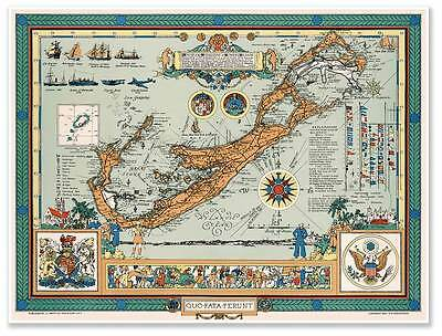 Atlantic Nautical MAP of the Bermudas or Old Somers Islands circa 1947 St 24x32