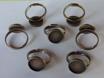 10 Antique BRASS Adjustable RING BLANKS Beveled pad for 12mm Cabochon Bezel edge