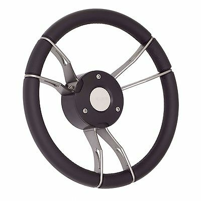 New OEM Gussi M65 Boat Steering Wheel Polish Aluminum Spk Black Inserts
